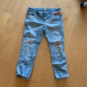 Free People patchwork boyfriend jeans
